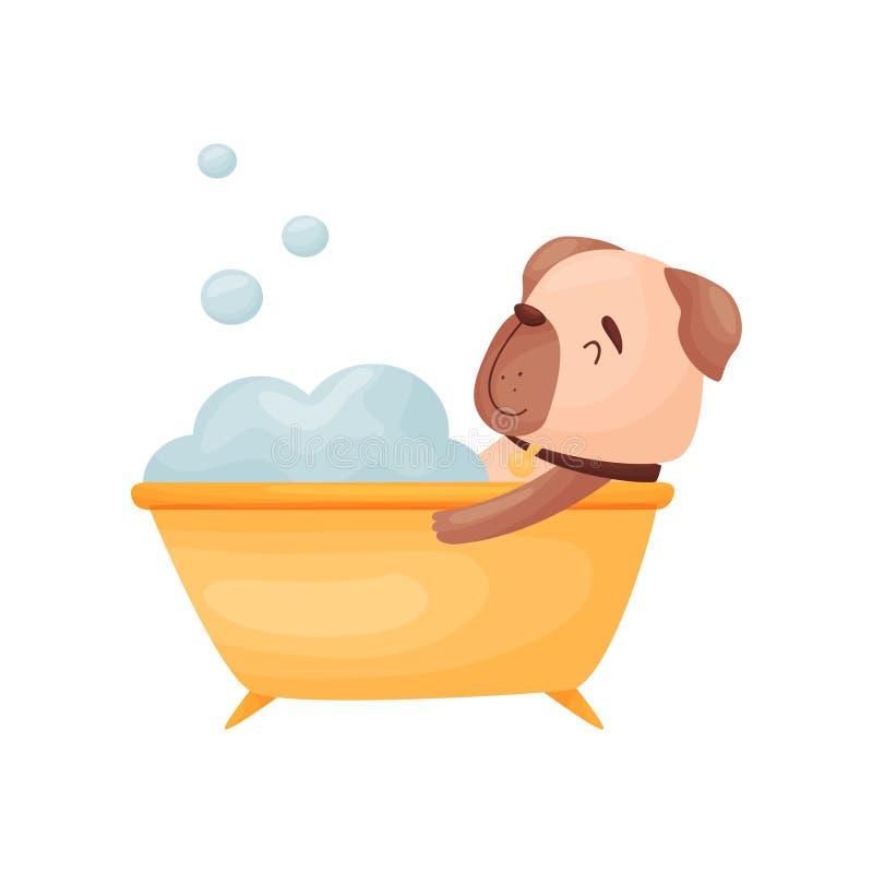 Il cane del fumetto si trova nel bagno Illustrazione di vettore su priorit? bassa bianca illustrazione vettoriale