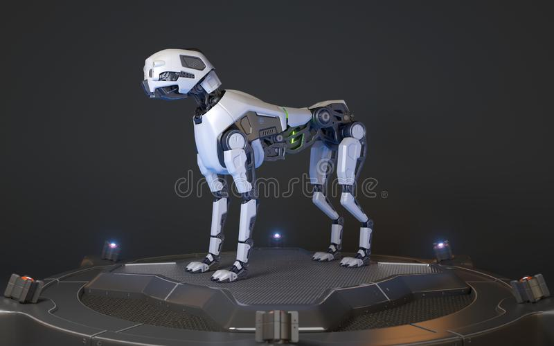 Il cane del robot sta su un bacino di carico illustrazione vettoriale