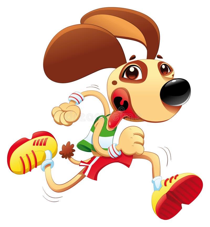 Il cane divertente sta funzionando. illustrazione di stock