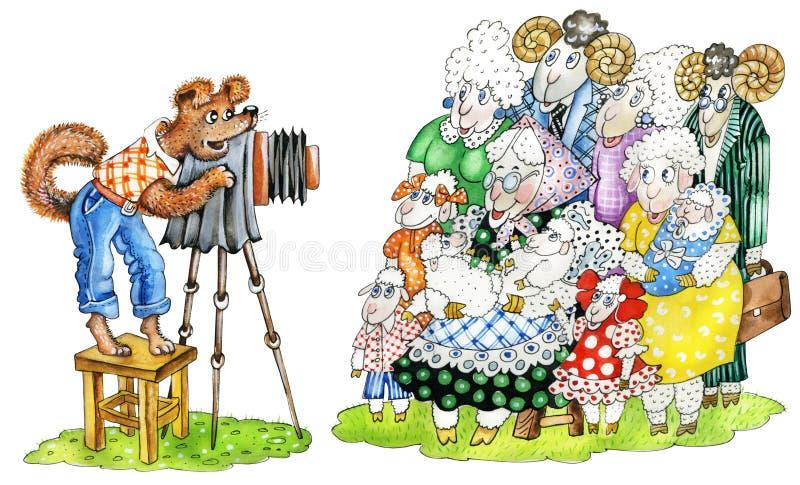 il Cane-fotografo cattura una maschera del `s fa delle pecore illustrazione di stock