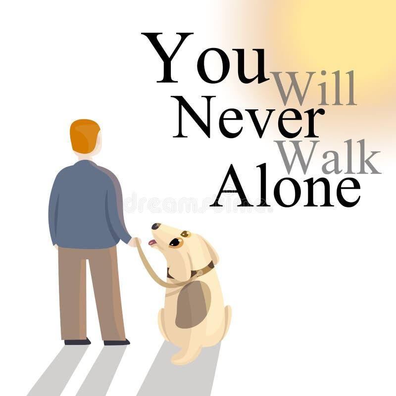 Il cane in guinzaglio sta fissando al proprietario mentre stanno riposando con lo slogan illustrazione di stock