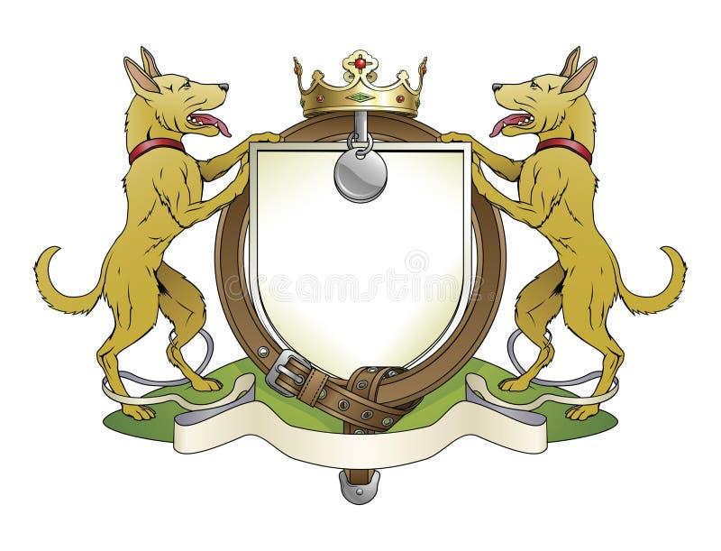 Il cane pets il cappotto dello schermo delle braccia araldico illustrazione di stock