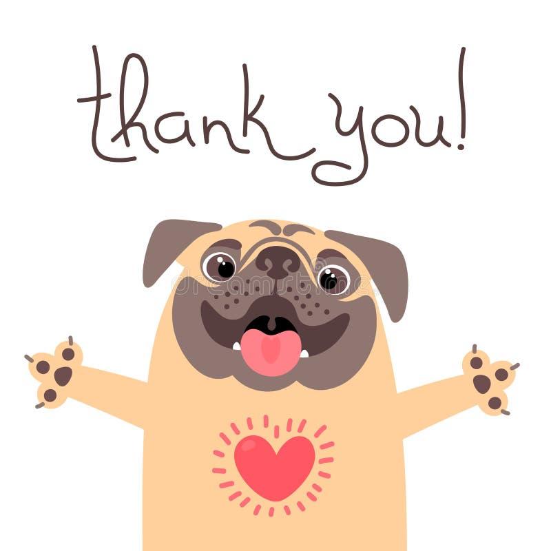 Il cane sveglio dice vi ringrazia Carlino con cuore pieno di ringraziamento illustrazione vettoriale