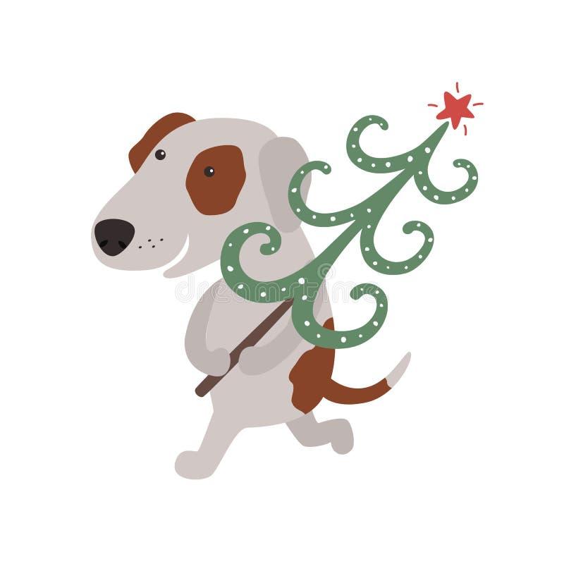 Il cane sveglio porta l'albero di Natale illustrazione vettoriale