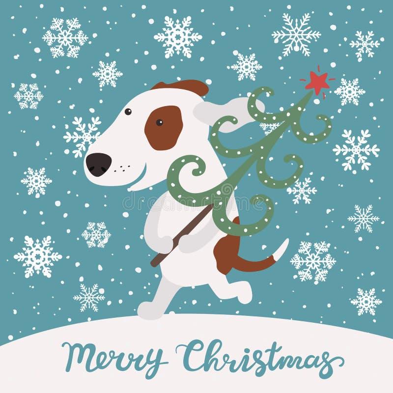 Il cane sveglio porta l'albero di Natale Buon Natale illustrazione di stock