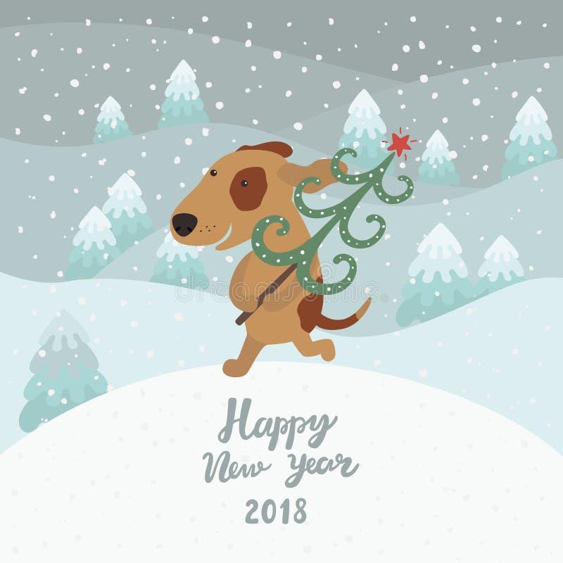 Il cane sveglio porta l'albero di Natale Buon anno 2018 illustrazione vettoriale