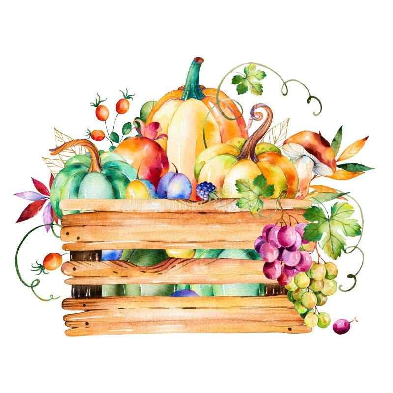 Il canestro del raccolto di autunno con la caduta va, rami, bacca royalty illustrazione gratis