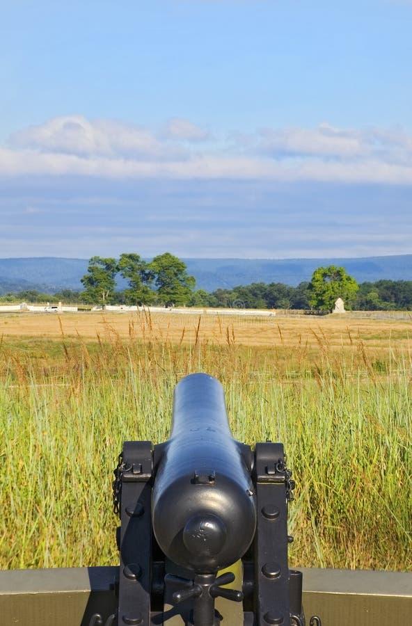 Il cannone di guerra civile ha puntato sul campo di battaglia Gettysburg Pensilvania fotografia stock libera da diritti