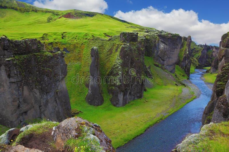 Il canyon Fjadrargljufur fotografia stock