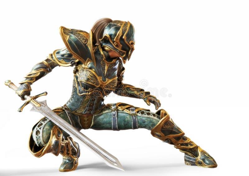 Il capitano donna del cavaliere che posava con la spada in una lotta di combattimento su un bianco isolato royalty illustrazione gratis