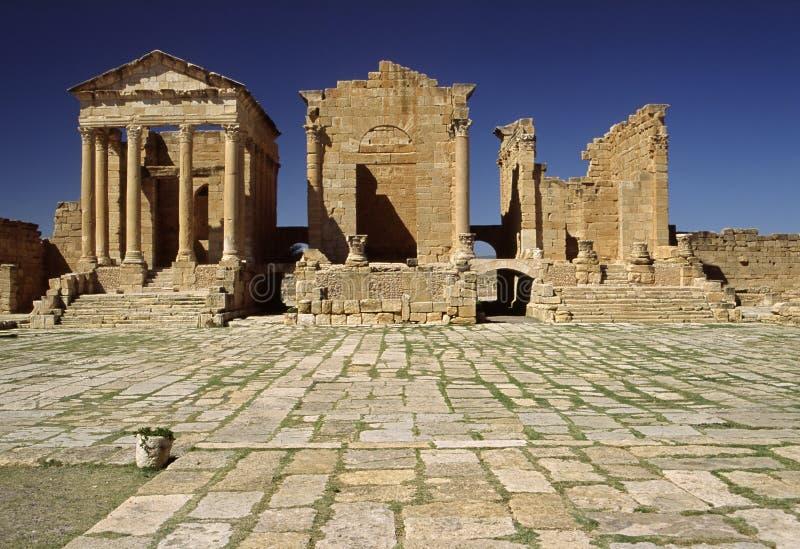 Il Capitolium in Sufetula fotografia stock libera da diritti