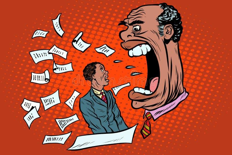 Il capo africano urla ad un subalterno Lavoro ed affare royalty illustrazione gratis