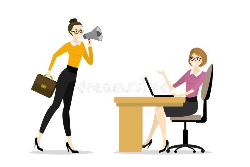 Il capo della donna di affari grida in un megafono da un ufficio stanco w royalty illustrazione gratis