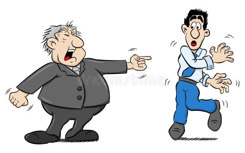 Il capo urla ad un impiegato royalty illustrazione gratis