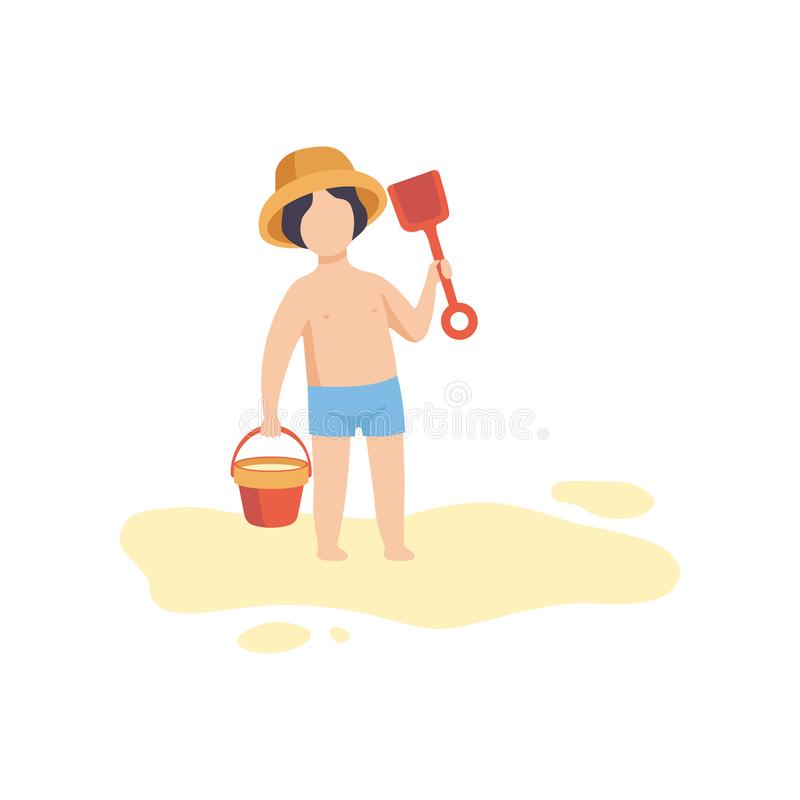 Il cappello d'uso del ragazzo sveglio e mette stare in cortocircuito con il secchio e la pala, bambino che gioca sulla spiaggia s illustrazione vettoriale