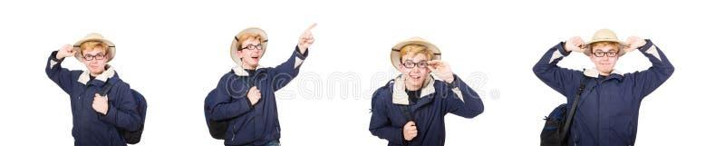 Il cappello d'uso di safari dello studente divertente fotografie stock