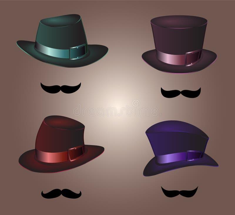 Il cappello degli uomini e gli accessori d'annata dei baffi vector il fondo bianco royalty illustrazione gratis
