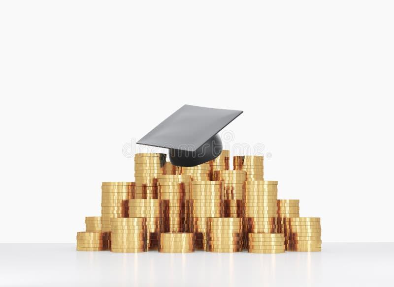 Il cappello di graduazione sta mettendo sulla piramide delle monete immagini stock libere da diritti