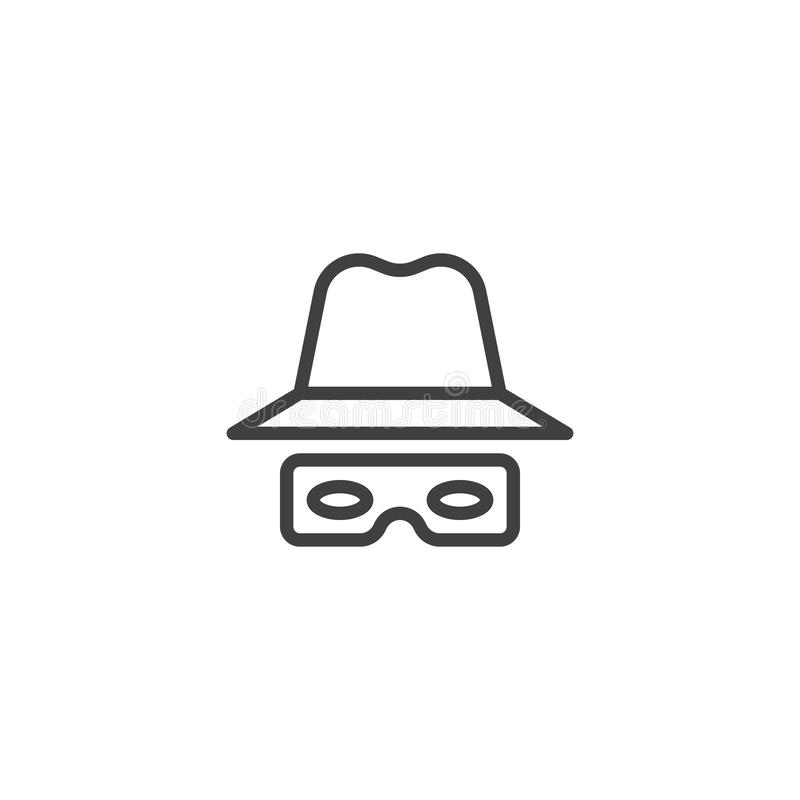 Il cappello ed i vetri allineano l'icona illustrazione di stock