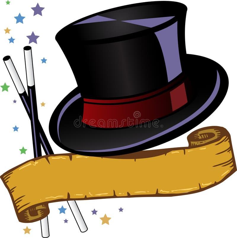 Il cappello superiore e la bandiera di tema magico vector l'illustrazione illustrazione vettoriale