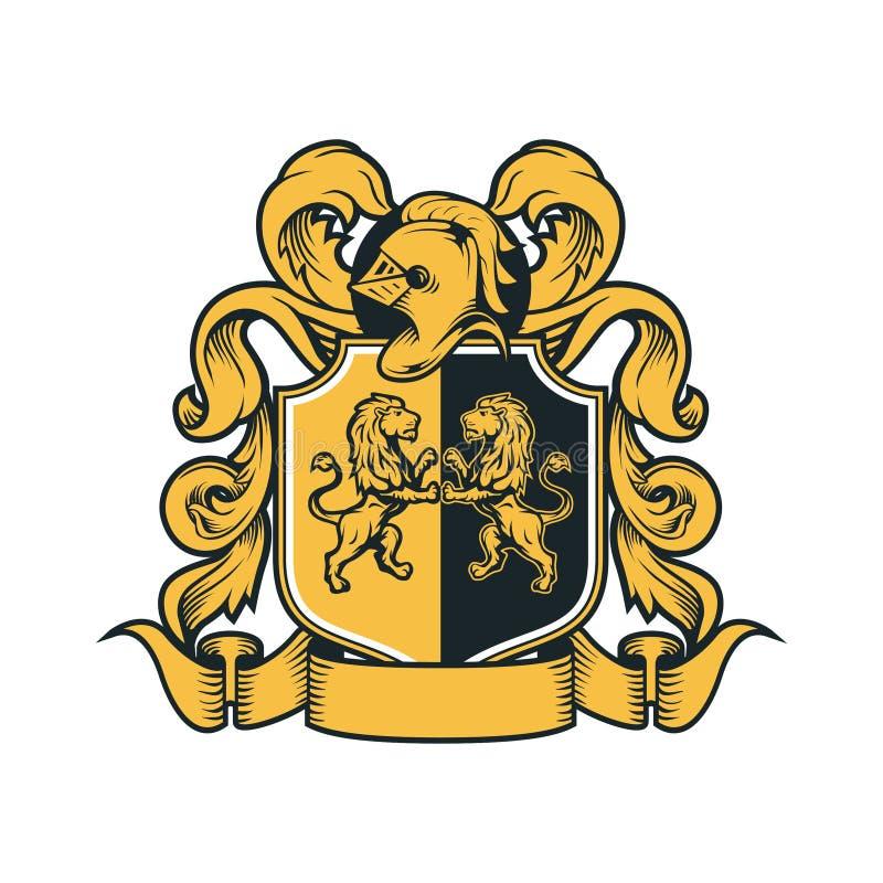 Il cappotto arma lo schermo araldico dell'emblema di Royal Family Crest del cavaliere d'annata illustrazione vettoriale