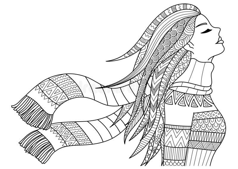 Il cappotto d'uso e la sciarpa della bella ragazza nell'inverno per l'insegna, la pagina adulta del libro da colorare, il manifes illustrazione di stock
