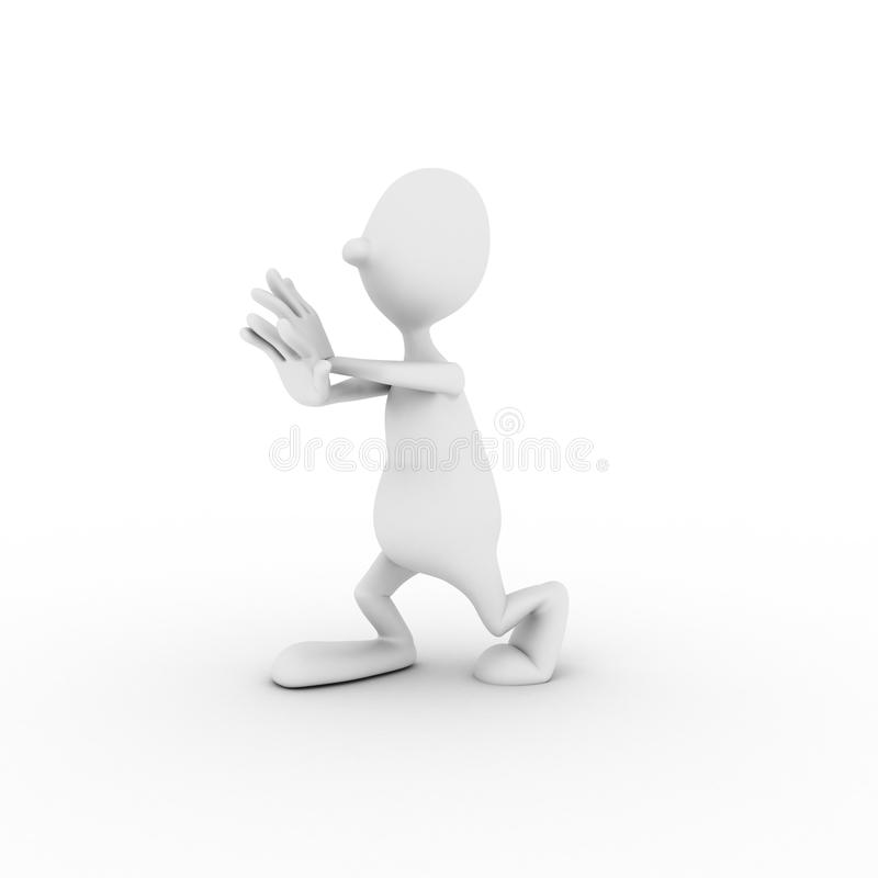 Il carattere è agganciato in ginnastica Wushu immagini stock