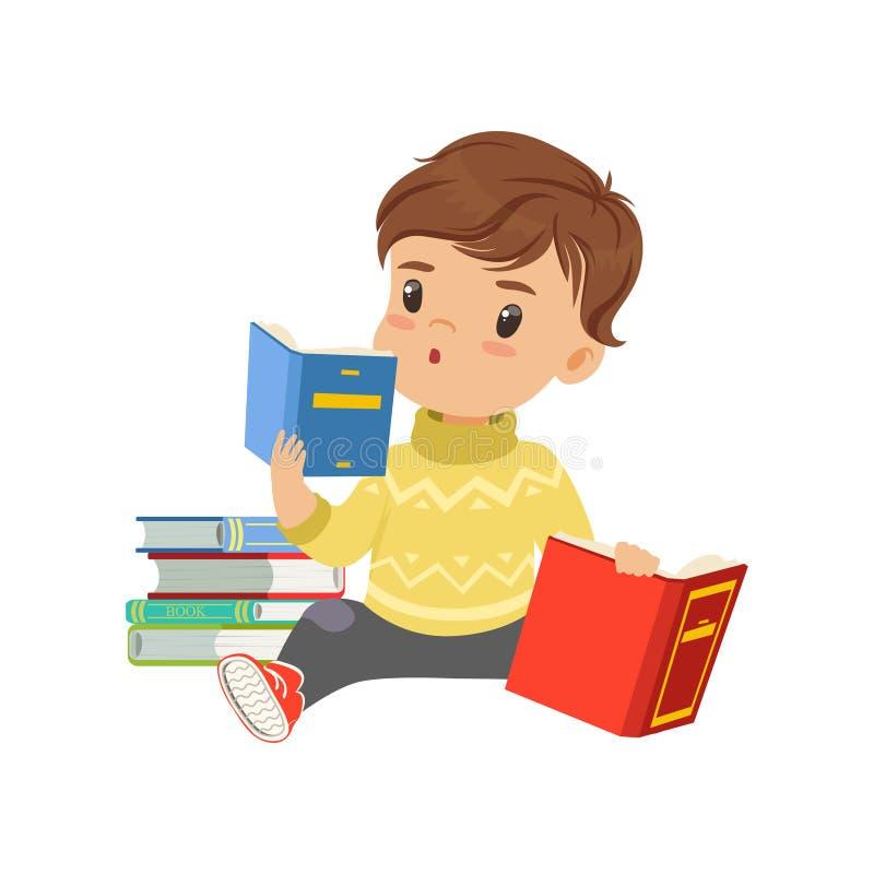 Il carattere astuto del ragazzino che si siede sui libri di lettura e del pavimento vector l'illustrazione su un fondo bianco illustrazione di stock