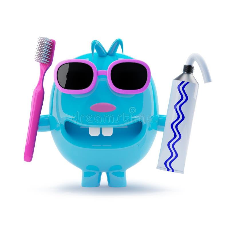 il carattere blu dispari 3d in occhiali da sole vuole pulire i suoi denti royalty illustrazione gratis