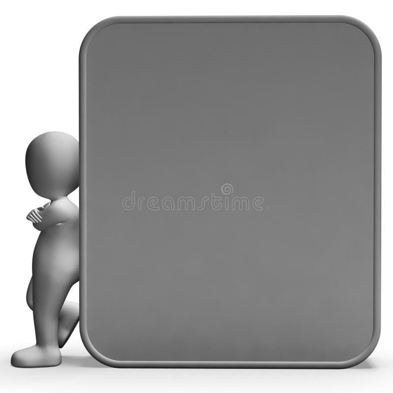 Il carattere che si appoggia il bordo in bianco permette il messaggio o la presentazione illustrazione di stock