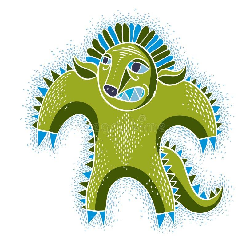 Il carattere comico, vector il mostro straniero verde arrabbiato Exp emozionale royalty illustrazione gratis