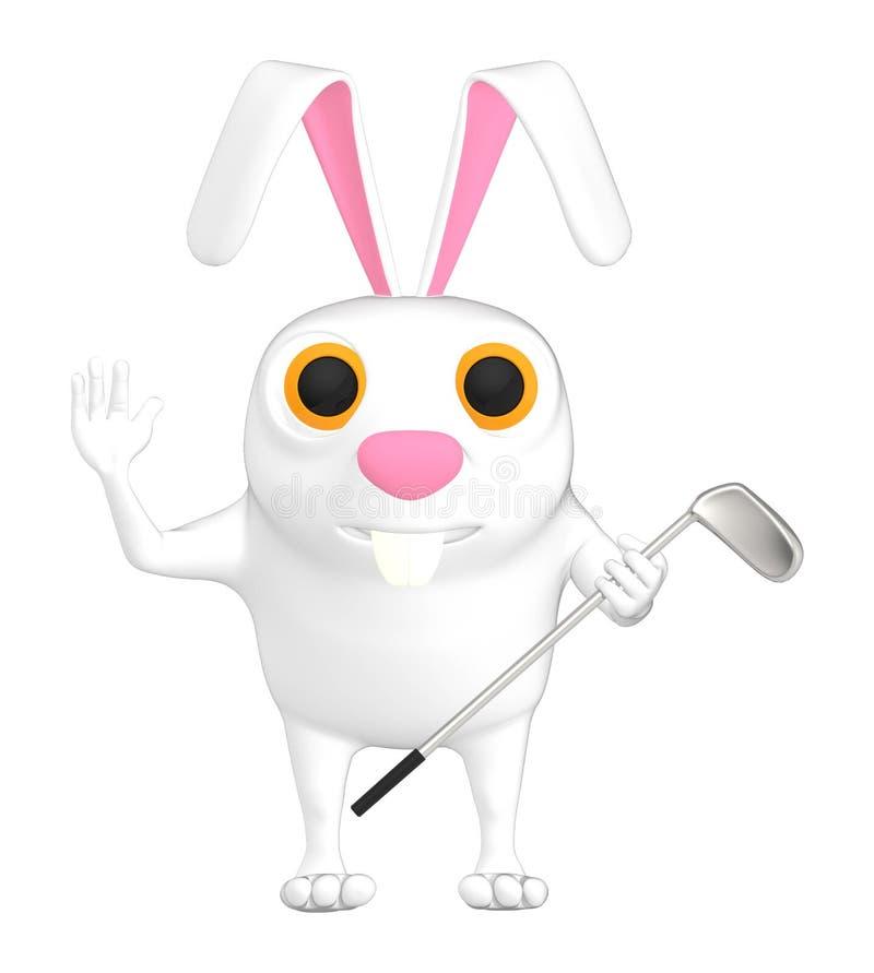 il carattere 3d, il coniglio e un golf battono illustrazione di stock