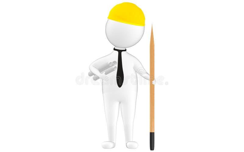 il carattere 3d, equipaggia il cappuccio di sicurezza d'uso del lavoratore civile, i roolls di carta sulla sua mano e una matita illustrazione vettoriale