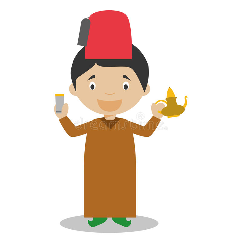 Il carattere dal Marocco si è vestito nel modo tradizionale con un insieme di tè royalty illustrazione gratis
