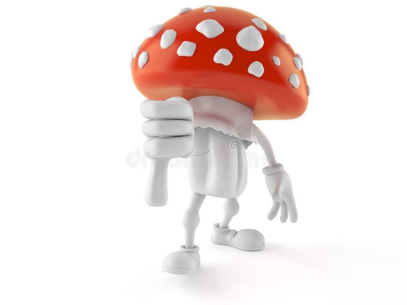 Il carattere del fungo con i pollici giù gesture royalty illustrazione gratis