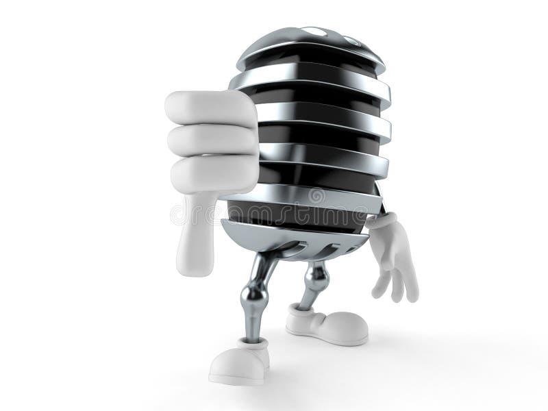 Il carattere del microfono con i pollici giù gesture illustrazione vettoriale