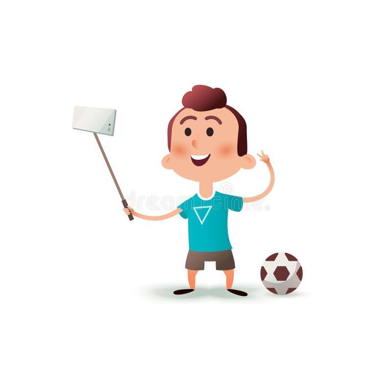 Il carattere del ragazzino del fumetto fa il selfie Ritratto di un bambino che fa la foto del selfie sullo smartphone isolato su  illustrazione di stock