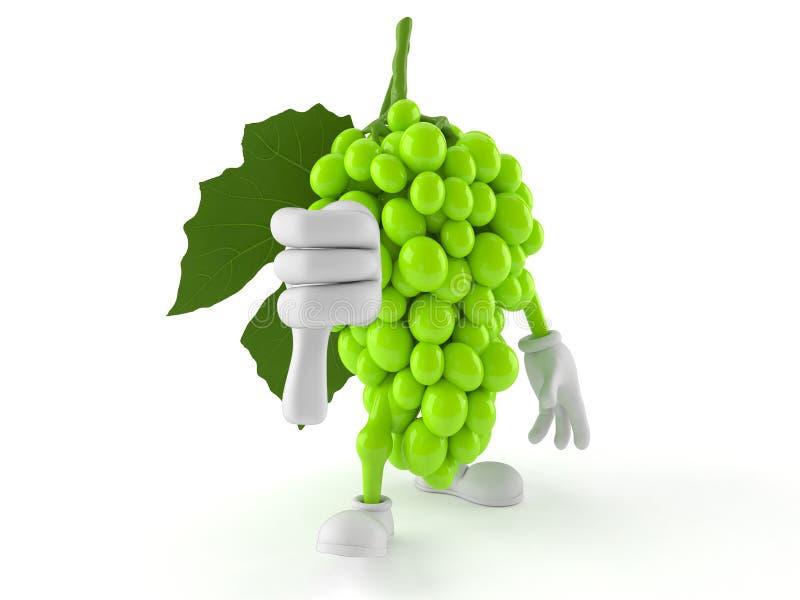 Il carattere dell'uva con i pollici giù gesture illustrazione vettoriale