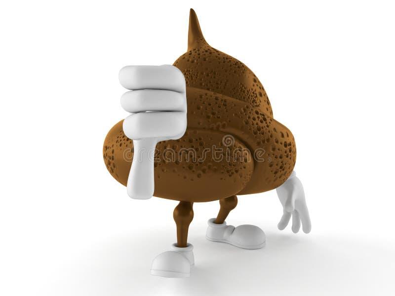 Il carattere della poppa con i pollici giù gesture illustrazione di stock