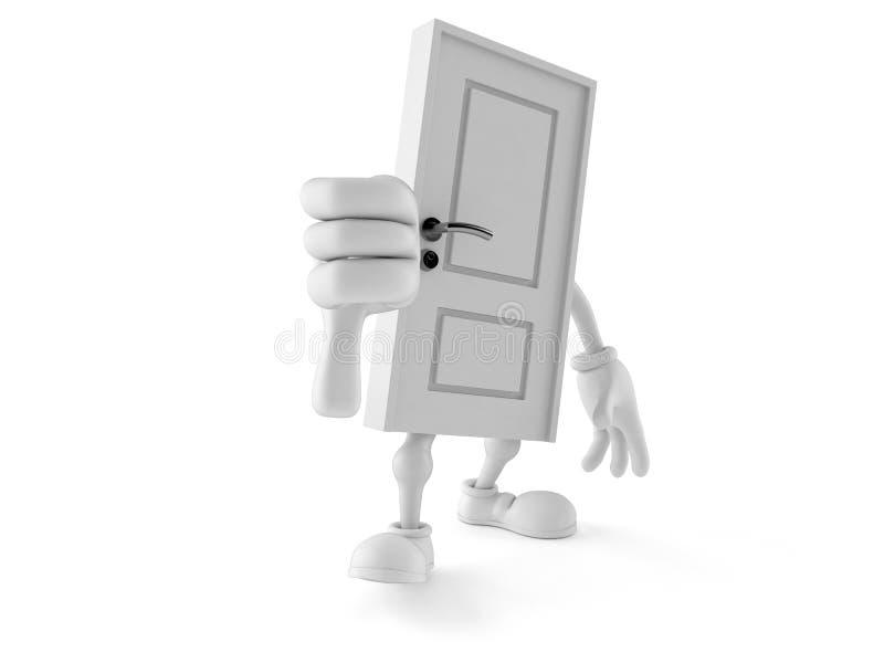Il carattere della porta con i pollici giù gesture illustrazione di stock