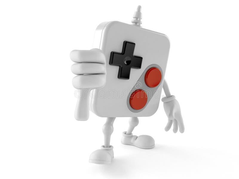 Il carattere di Gamepad con i pollici giù gesture illustrazione di stock