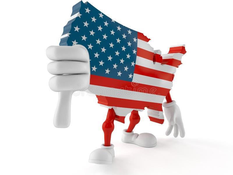 Il carattere di U.S.A. con i pollici giù gesture illustrazione di stock
