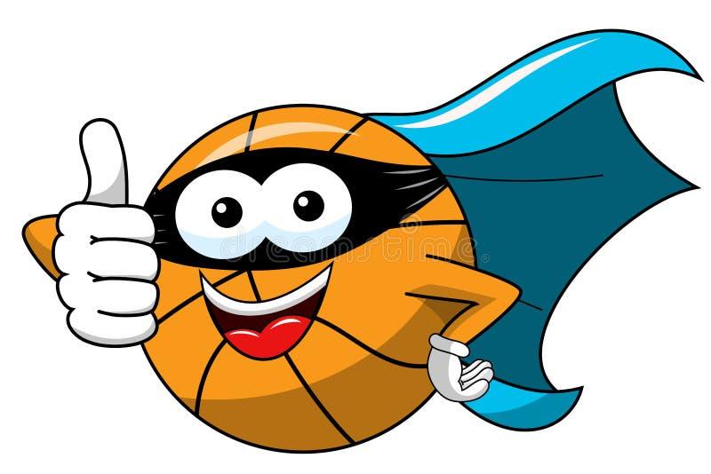Il carattere divertente del fumetto della palla di pallacanestro ha mascherato il supereroe isolato royalty illustrazione gratis