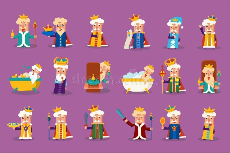 Il carattere divertente di re che posa nelle situazioni differenti ha messo, vecchio imperior che mostra le varie illustrazioni d illustrazione di stock