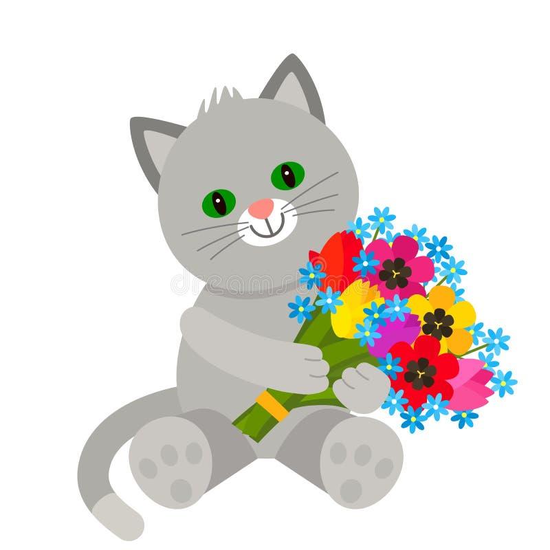 Il carattere divertente Teddy Kitten tiene in sue zampe un mazzo dei fiori dai tulipani Il concetto del San Valentino, nozze royalty illustrazione gratis