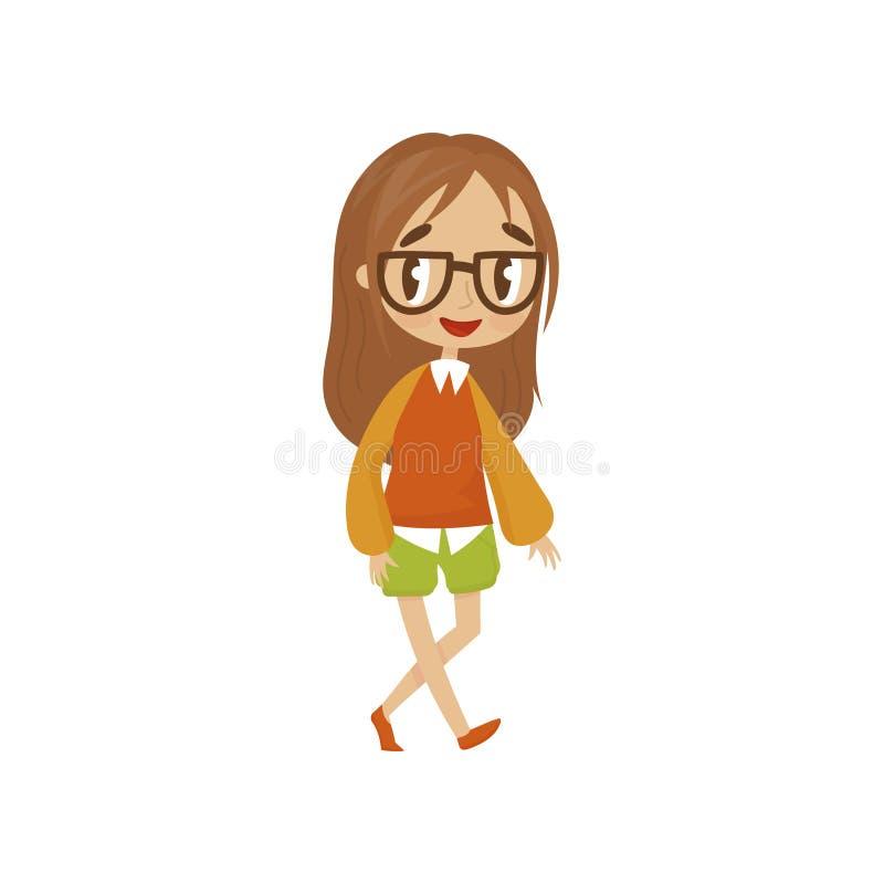 Il carattere dolce della ragazza del fumetto dentro in blusa e negli shorts, bambino sveglio in vestiti alla moda vector l'illust illustrazione vettoriale