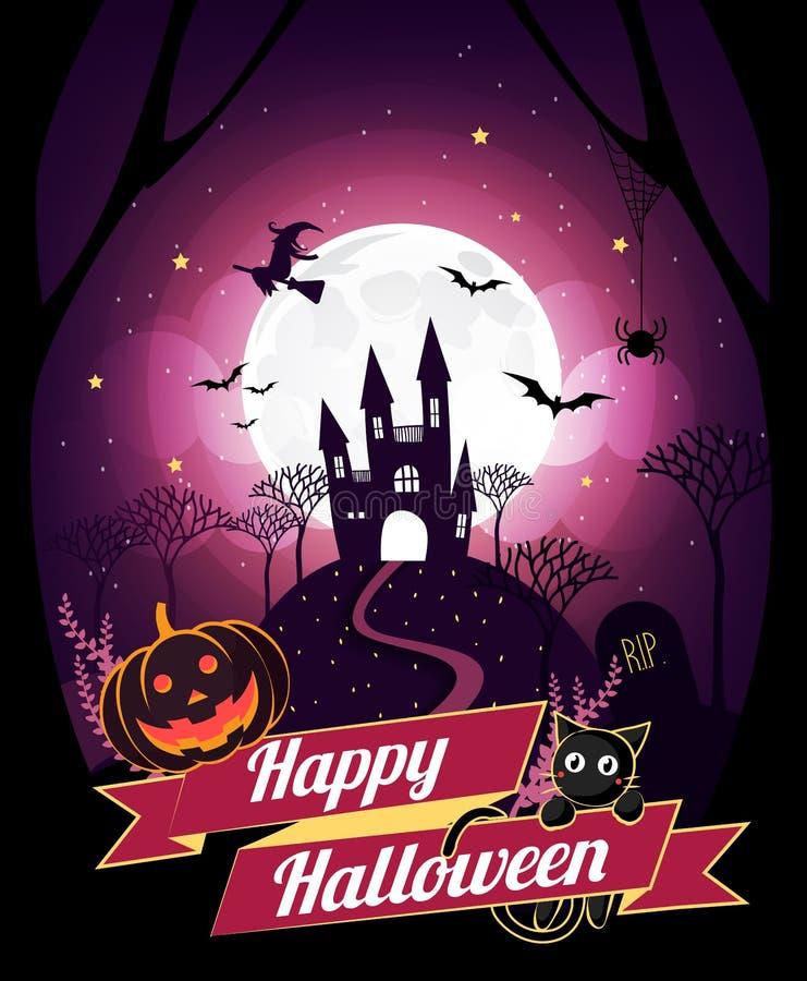 Il carattere e l'elemento di Halloween progettano il distintivo sul fondo della luna piena, il concetto di scherzetto o dolcetto, illustrazione vettoriale