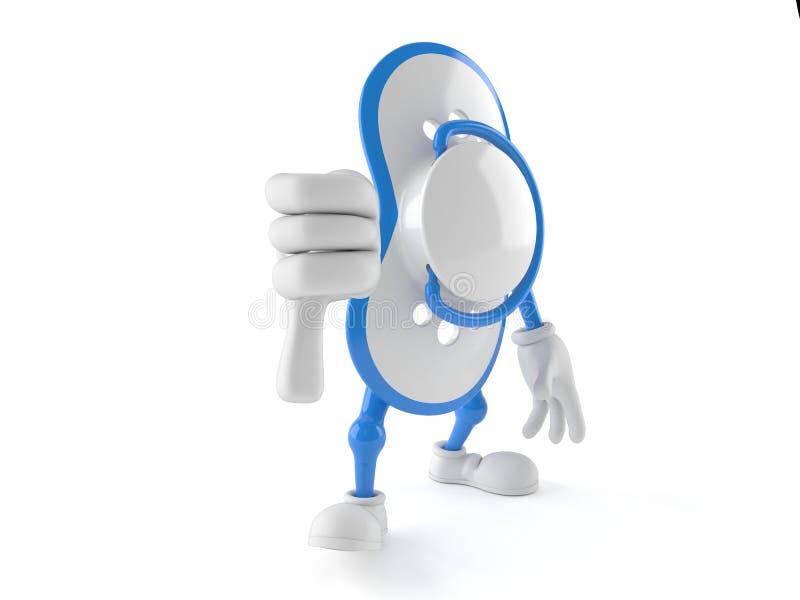 Il carattere fittizio del bambino con i pollici giù gesture illustrazione vettoriale
