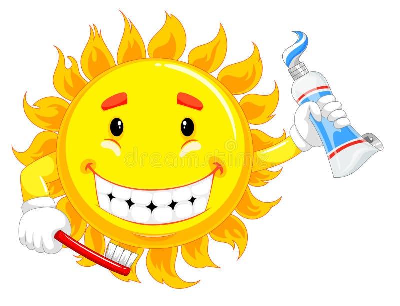 Il carattere giallo del sole sta tenendo lo spazzolino da denti ed il dentifricio in pasta illustrazione di stock
