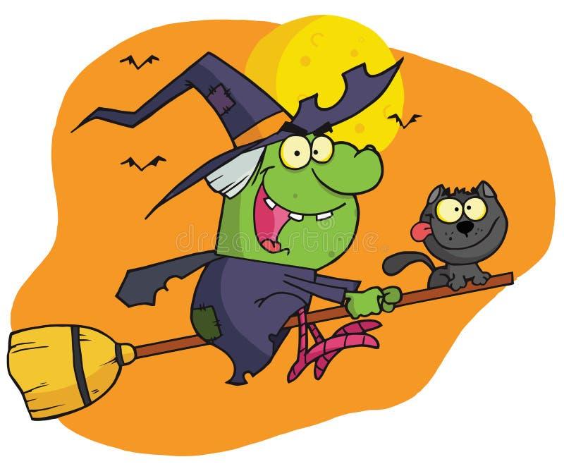 Il carattere harrison ha guidato un broomstick con un gatto illustrazione vettoriale